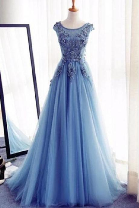 Blue Lace Evening prom dresses, Modest Party prom dresses, A line prom dress, Tulle prom dresses, 16039