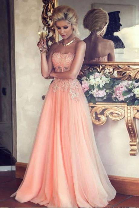 Hot Sales A-line Strapless Lace Appliqued Bodice Blush Pink Tulle Skirt Long Prom Dresses Evening Gowns,Custom Size Fashion Ball Gown Prom Dress