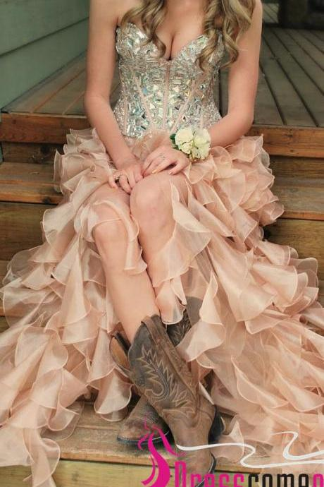 Romantic High Low Prom Dresses Sweetheart Beaded Bodies With Boots Blush Pink Prom Dress Tiered Long Evening Dresses ,Fashion Evening Prom Gowns