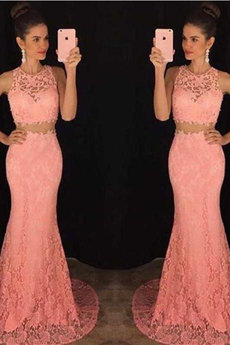 Two piece lace mermaid prom dress, Peach long prom dresses, Sexy Lace prom dresses, prom dress online, 2017 prom dress, 16054