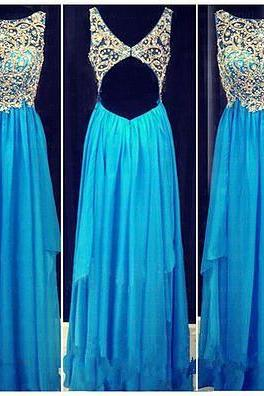 2017 Backless Prom Dresses,Cute Rhinestones Open Back Sparkly Blue Prom Dress Long Evening Dresses,Empire Waist High Low Evening Prom Gowns