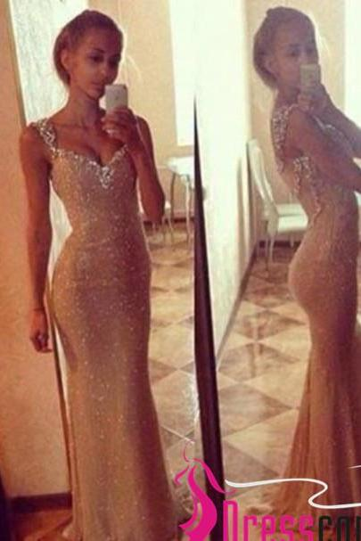 New Champagne Gold Sequin Prom Dresses,Mermaid Long Prom Dress,Off the Shoulder See Through Back Evening Prom Gowns,Girl Graduation Dresses