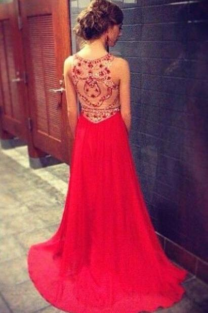 Red Prom Dresses With High Neck Beaded Bodice Chiffon Long Prom Dress,A Line See Through Back Evening Dresses,Custom Woman Prom Gowns