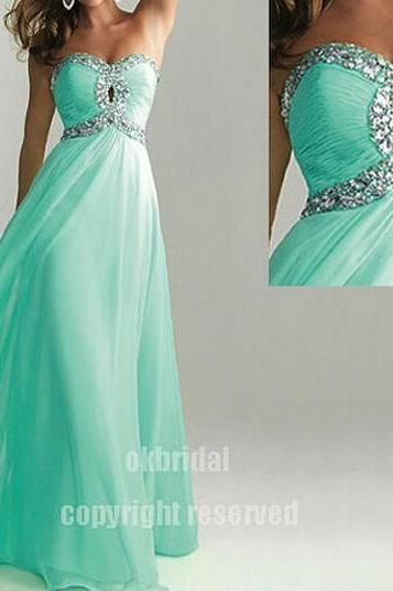 Turquoise prom dresses, long prom dress, chiffon prom dress, dresses for prom, 2017 prom dress, 16160