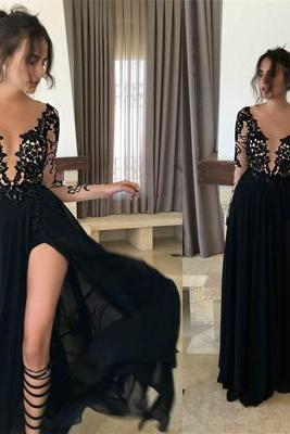 Sexy See Through Mermaid Evening Prom Dresses, Side Slit Long Sleeve Party Prom Dress, Custom Long Prom Dress, Formal Prom Dresses, 17024