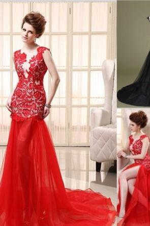Lace Red or Black Sexy Prom Dress Formal Dress Cocktail Dress Military Ball Gown,PD3800215