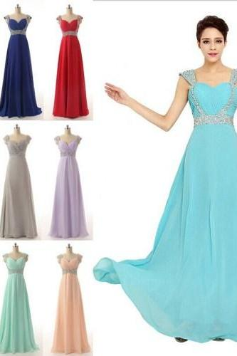 V-neck Long Chiffon Prom Dress, Cocktail Dress, Ball Gown,PD3800213