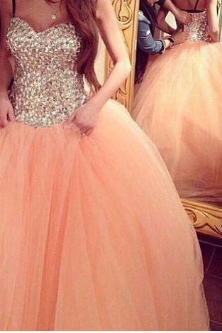 peach ball gown, peach prom dress, rhinestone prom dress, 2017 prom dress, tulle prom dresses, cute prom dress,PD3800210