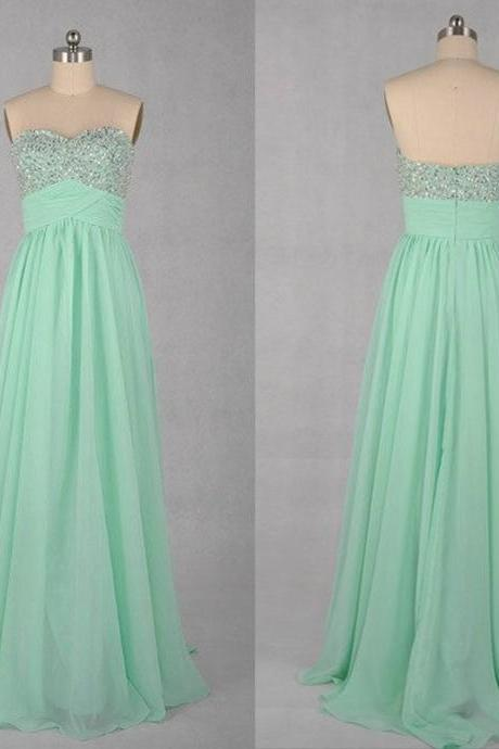 Sequins Embellished Sweetheart Floor Length A-Line Prom Dress