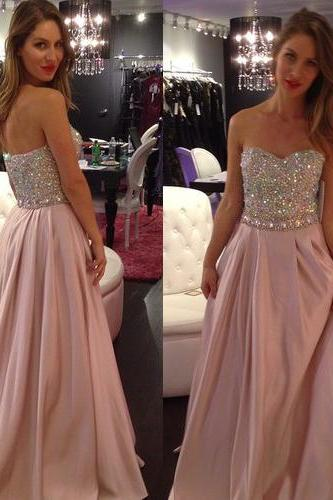 blush pink dress, unique prom dress, formal prom dress, chiffon prom dress, prom dress 2017, online prom dress, rhinestone prom dress,PD3800104