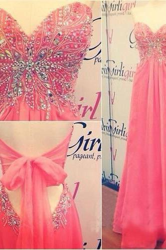Long prom dress, pink prom dress, Prom dress 2017, Cheap prom dress,PD380086