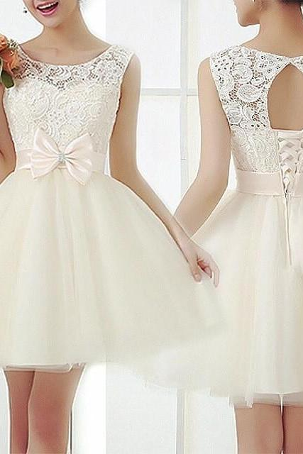 Lace Prom Dress, Short prom dress, White prom dress, online prom dresses,PD380059