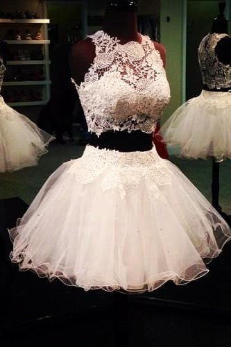 Short Homecoming Dresses,Lace Prom Dresses,Prom Dresses 2017,White Prom Dresses,A-Line Evening Dresses,Party Dresses 2017,Party Gowns,PD380030