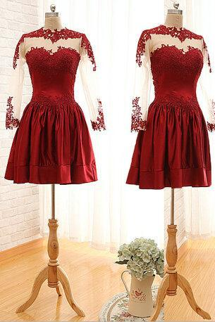 Charming Burgundy Sweetheart Knee Length Prom Dress With Embroidery And Lace, Burgundy Prom Dresses, Prom Dresses 2017,PD20170708