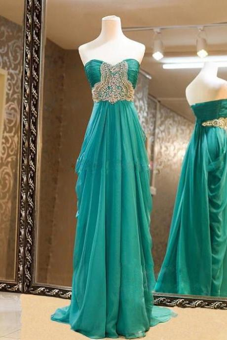 High Quality Chiffon Sweetheart Blue-Green Floor Length Prom Dresses With Beadings, Long Prom Dresses, Handmade Formal Dresses, PD20170706