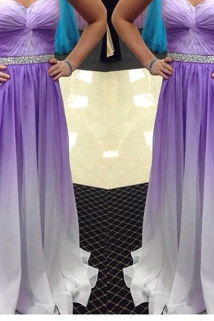 Elegant Sweetheart A-Line Floor Length Chiffon Gradient Purple Prom Dress With Beadings, Long Prom Dresses, Prom Dresses 2017,PD20170704