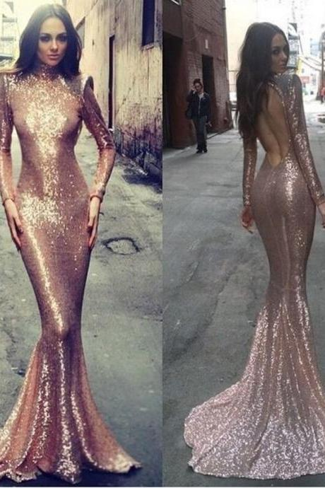Long sleeve mermaid prom dress, rose gold prom dresses, sequin prom dresses, backless prom dress, sexy prom dresses, 16205