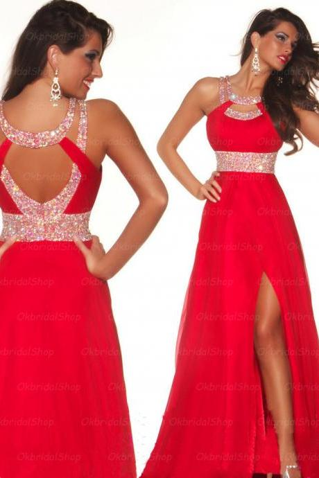 sexy red prom dresses, red prom dress, chiffon prom dress, dresses for prom, Long prom dress, 16214