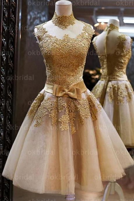 Gold lace homecoming dresses, tulle prom dress, golden cocktail dress, dresses for prom, homecoming dress, 16231