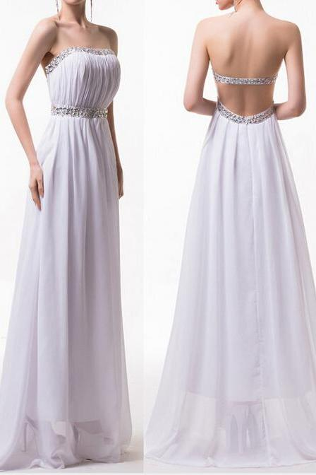 Sexy Prom dress, Backless Prom dress ,Evening Dress,A-Line prom dress, Chiffon Prom Dress, Long Prom Dress,Pleat Prom Dress,15032603