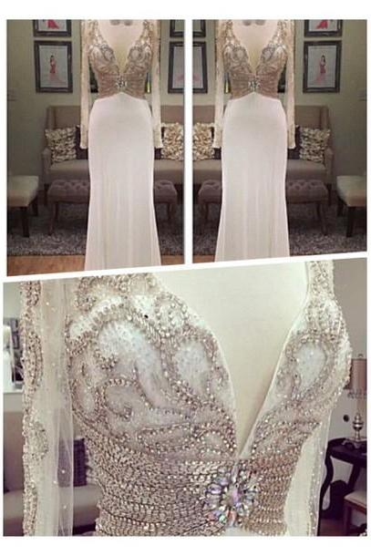 Charming Prom Dress,Beading Prom Dress,Long Sleeve Prom Dress,V-Neck Prom Dress,150327017