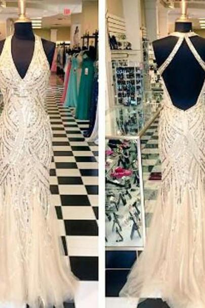 Glitter Prom Dress,Halter Prom Dress,V-Neck Prom Dress,Mermaid Prom Dress,15040132