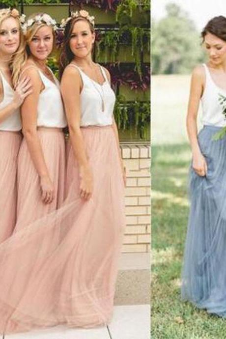 Popular Cheap Low Back Spaghetti Straps Scoop Neck bridesmaid dresses, White Blush Pink Tulle Long Bridesmaid Dresses , 16709
