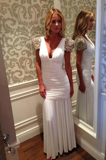 white prom dress, long prom dress, chiffon prom dress, 2017 prom dress, custom prom dress, short sleeve prom dress,15040701