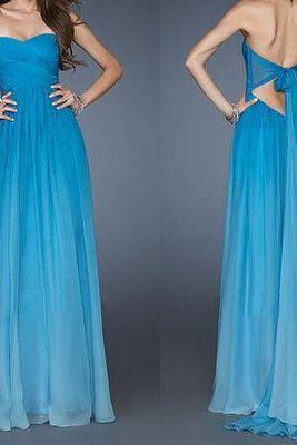 blue prom dress, long prom dress, 2017 prom dress, chiffon prom dress, custom prom dress,15040720