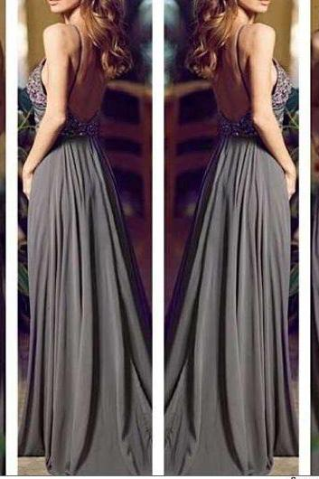 Gray Long Prom Dresses, Straps Prom Gowns,Beaded Evening Dresses, Backless Evening Gowns, Cocktail Dress,15040725