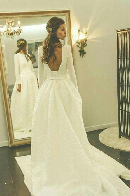 Romantic Wedding Dresses Princess Backless With Long Sleeves Satin Skirt Elegant White Simple Wedding Gowns