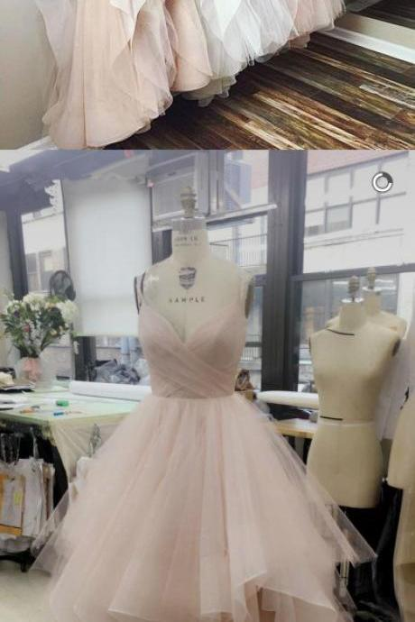 Spaghetti Straps Long Tulle Prom Dresses Princess Pink Prom Gown, Ball Gown White Formal Gown