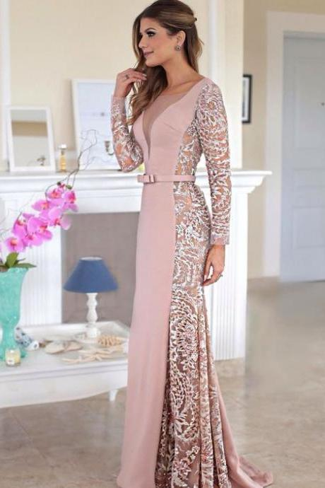 Pink Prom Dresses Mermaid Prom Dress With Long Sleeves Sexy Evening Gown For Teens
