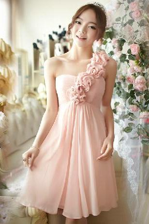 Pretty bridesmaid dress, Knee Length bridesmaid dress, Chiffon bridesmaid dress, One-Shoulder Bridesmaid Dress, Homecoming Dresses,15041504