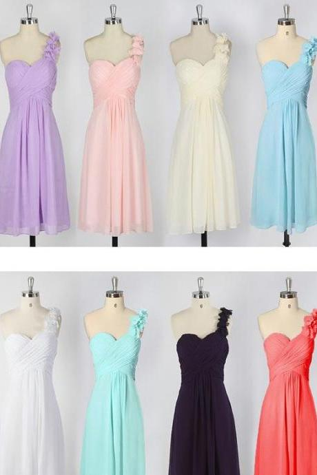 Cute bridesmaid dress, One Shoulder bridesmaid dress, Chiffon Bridesmaid Dress, Bridesmaid Dress, Wedding Party Dresses,15041507