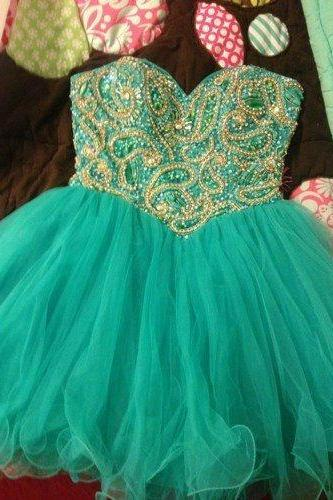Charming bridesmaid dress, Mini bridesmaid dress, Tulle bridesmaid dress, Green Prom Dresses , 15041509