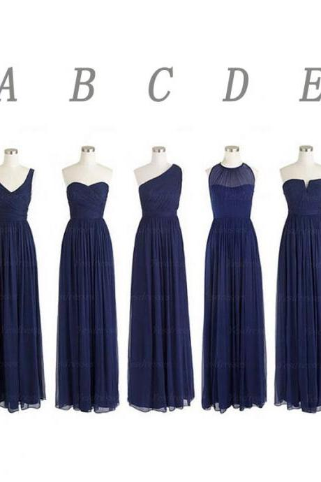 Mismatched bridesmaid dress,navy bridesmaid dress, Chiffon Bridesmaid Dresses, Long Bridesmaid Dresses, Bridesmaid Dresses, 15041701