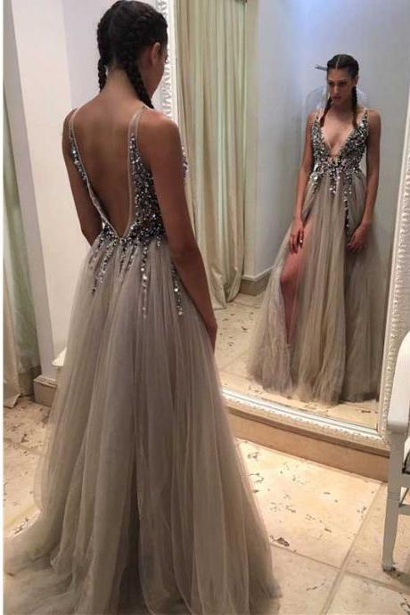 Backless Rhinestone prom dress, long tulle prom dresses, Sexy prom dresses, prom dress online, Long prom dress, 17351