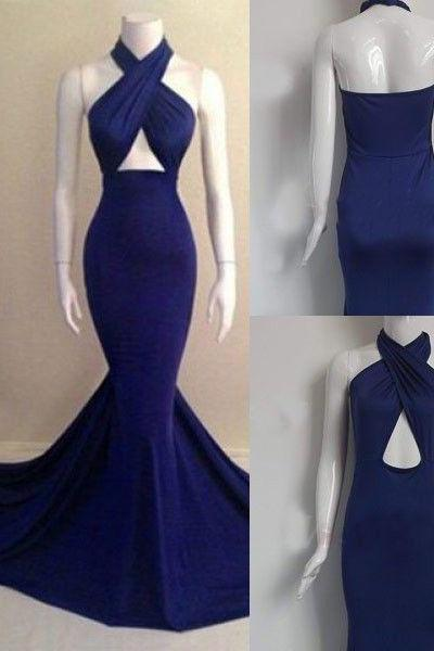 Elegant Mermaid Halter Court Train Royal Blue Long Prom Dress Evening Gowns With Ruched Prom Dresses