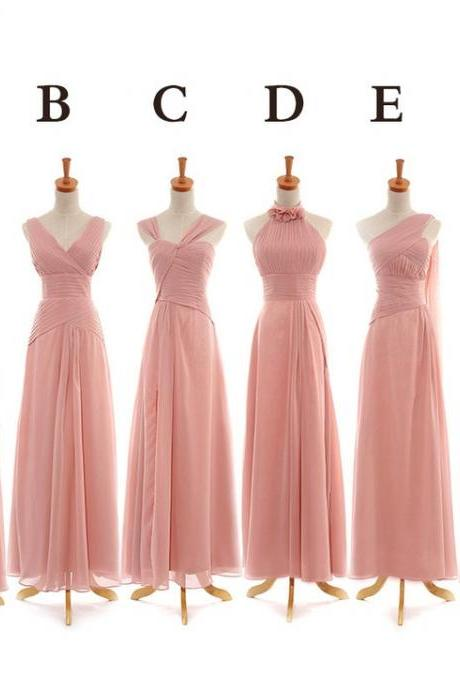 Pink Bridesmaid Dresses, Floor Length bridesmaid dress, mismatched bridesmaid dress,Simple Design Party Dresses, 15042006