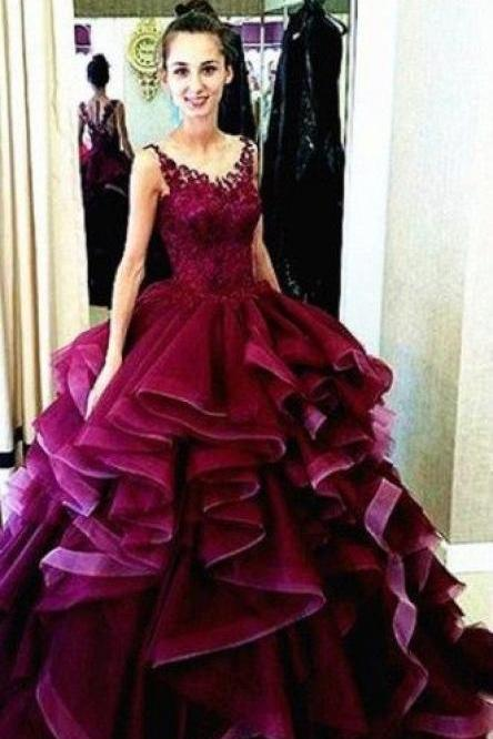 Wine Red Prom Dress Ball Gown New Arrival Modest Corset Fitted Gorgeous Burgundy Prom Gowns