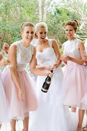 organza bridesmaid dresses,Classic white bridesmaid dress,lace bridesmaid dress,A line bridesmaid dress,15042407