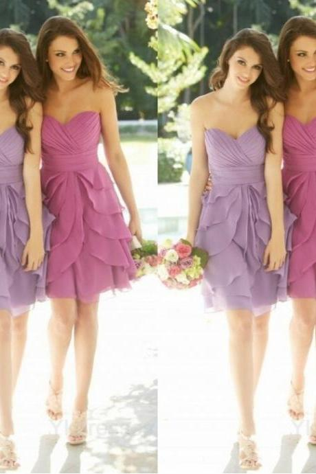 mini bridesmaid dresses,Sexy sweetheart bridesmaid dress,classic design bridesmaid dress,chiffon bridesmaid dress,pink bridesmaid dress,15042705