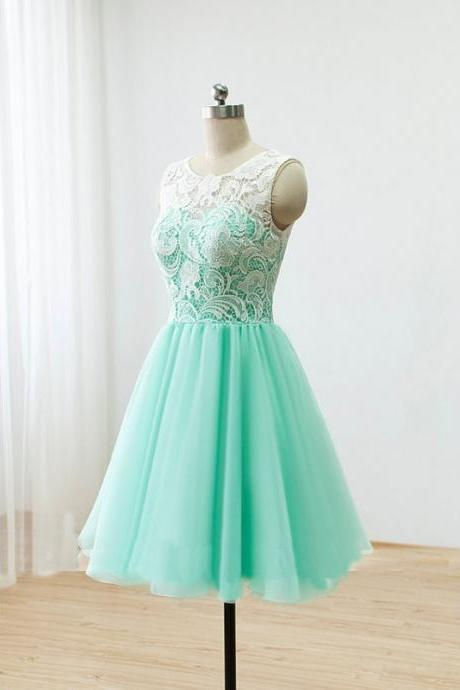 lace bridesmaid dresses, short bridesmaid dresses, mint bridesmaid dresses, custom bridesmaid dresses, tulle bridesmaid dresses, 16503