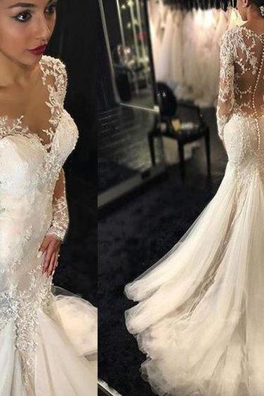 Romantic Boho Wedding Dresses Princess Backless With Long Sleeves Lace Skirt Mermaid Elegant White Lace Wedding Gowns
