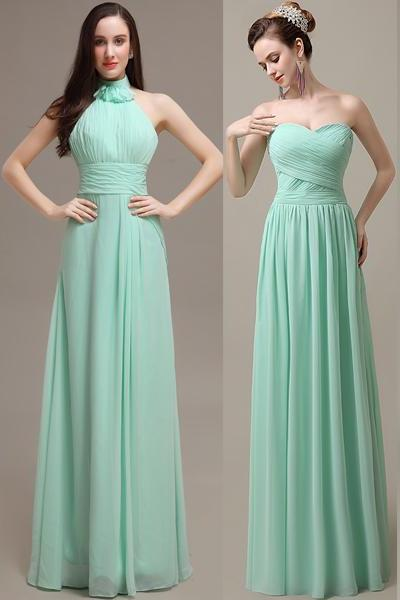 Mint bridesmaid dresses, cheap bridesmaid dresses, chiffon bridesmaid dresses, long bridesmaid dress, Custom bridesmaid dresses, 16322
