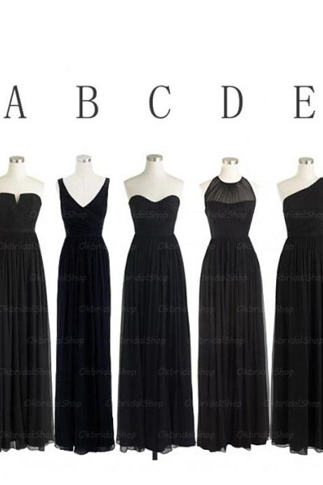 Black bridesmaid dresses, long bridesmaid dresses, chiffon bridesmaid dresses, mismatched bridesmaid dress, cheap bridesmaid dresses, 16326