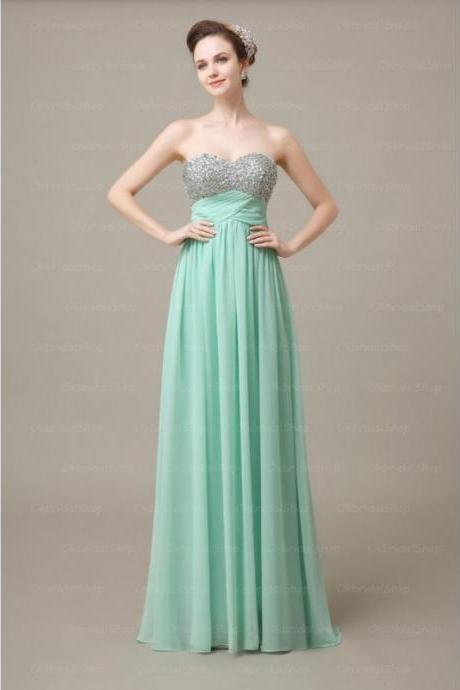 Custom Made Mint Green Strapless Floor Length A-Line Bridesmaid Dresses with Sequin Bodice