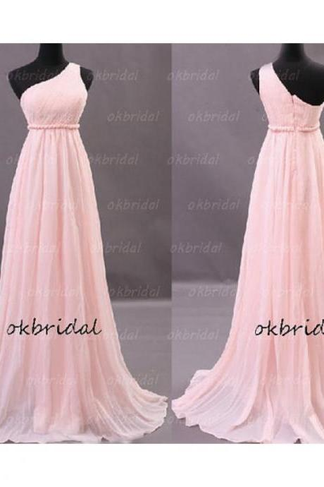 Pink One Shoulder Chiffon Bridesmaid Dress with Twisted Empire Waistline
