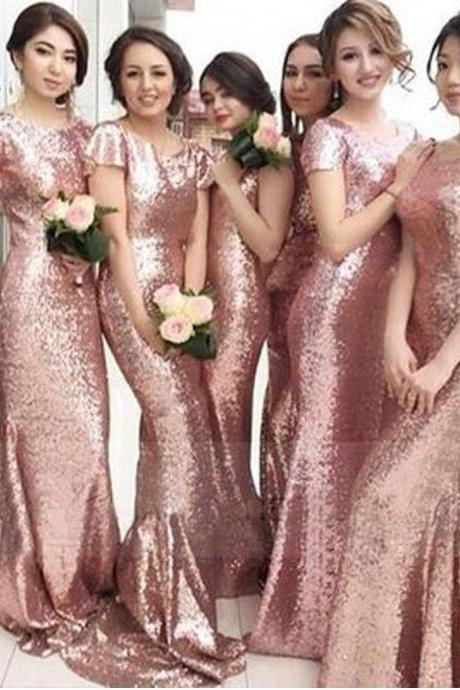 Sequin Short Sleeve Sexy Mermaid Rose Gold Pretty Cheap Long Wedding Party Bridesmaid Dresses, 17108